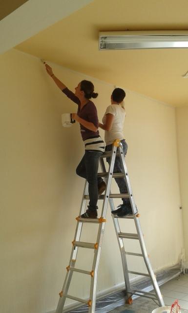 Zwei Studentinnen arbeiten auf einer Bockleiter weit oben stehend