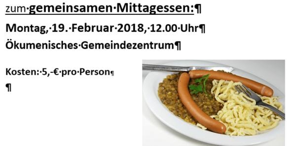 Einladung zum gemeinsamen Mittagessen am 19.02.2018