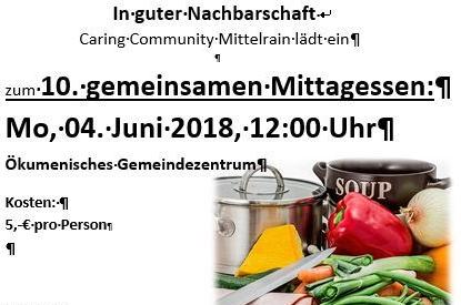 Einladung zum 10. gemeinsamen Mittagessen Mittelrain