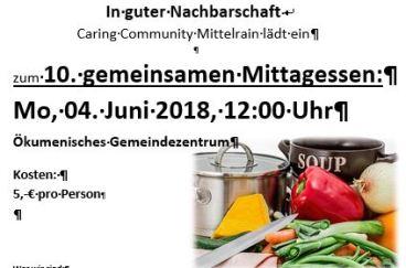 Einladung zum 10. gemeinsamen Mittagessen am Mittelrain