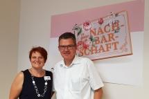 """Bundestagsabgeordneter Roderich Kiesewetter und Projektkoordinatorin von """"In guter Nachbarschaft"""" Evi Lattermann"""