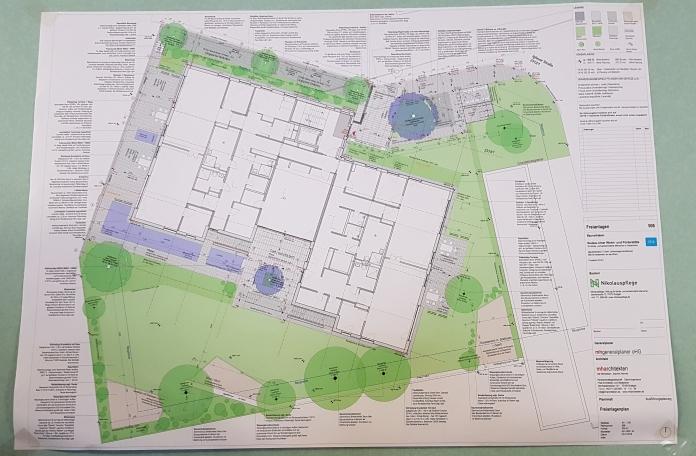 Plan zum Neubau der Nikolauspflege am Zanger Berg in Heidenheim